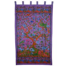 Purple Tree of Life Indian Bohemian Cotton Tab Top Panel Curtain Window Covering