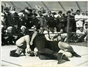 Jack Dempsey Boxer wrestling Bull Montana 1925 Original Stamped 7x9 Photograph