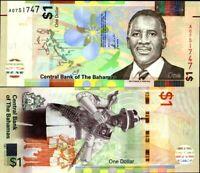 Bahamas 2017 > 1 Dollar, Prefix 'A' Redesigned Banknote UNC