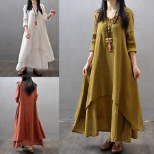Womens Ladies Summer Long Sleeve Cotton Linen Maxi Shirt Dress Kaftan Plus Size