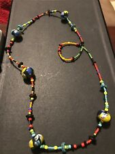 long multi color beaded necklace