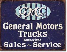 GMC General Motors Trucks Sales Service TIN SIGN vintage garage metal decor 2069