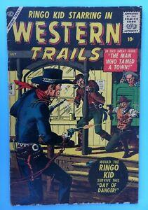 1957 Atlas/Marvel WESTERN TRAILS Comic #2 VG  w/Ringo Kid & Severin art