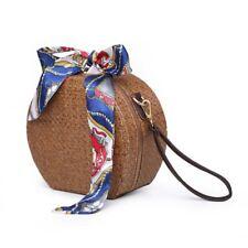 Round Rattan Bag Woven Straw Purse Circle Handmade Wicker Basket Bag V4V1 A7W5