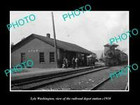 OLD POSTCARD SIZE PHOTO OF LYLE WASHINGTON THE RAILROAD DEPOT STATION c1910