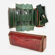RARE Antique French Military Officer's Vanity Traveler's Kit, 1700s Leather Case