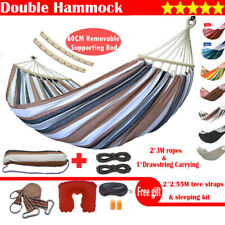 Double Hanging Hammock Bed Outdoor Swinging Camping Swing Chair Tree Strap Rope