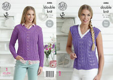 Easy Knit Ladies Lace Sweater Jumper Top Double Knitting Pattern King Cole 4486