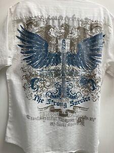 Large Man's Graphic Dragon Wings Short Sleeve Button Hawaiian Bowling Shirt