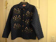 Women's Karen Hart Warm Quilted Flower Embroidered Denim Jacket Size Menium