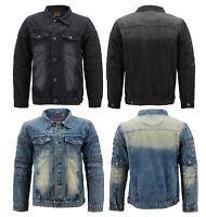 Men's Cotton Blend Faded Denim Moto Quilted Button Up Jean Jacket Slim Fit