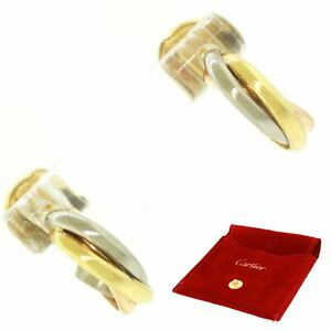 Cartier 18k Solid Yellow, Rose, & White Gold Trinity Earrings with Pouch