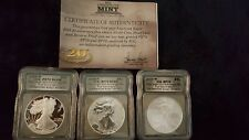 2006 SILVER EAGLE 20TH ANNIVERSARY 3 COIN SET w/Box & COA...PR70 RP70 SP70