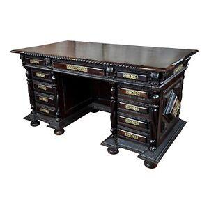 Portuguese Baroque Fabulous Vintage Pedestal Desk