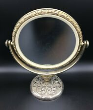 Antique Art Nouveau Silver Plated Dual Sided Vanity Mirror w/Intricate Metalwork