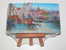 Petit Tableau Relief sur Chevaler Trespied Bateau de Pêche 13 x 7 cm NEUF