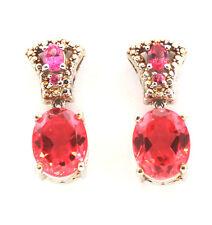 Papaya Quartz (Ovl) Mahenge Rose Spinel Earrings TGW 6.6 Cts. Sterling Silver