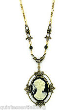 24K Gold Plated Jet Black Crystal Vintage Victorian Look Cameo Necklace