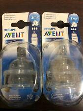 2 packs of Phillips AVENT Baby bottle rubber Nipples 3m+ BPA Free              V