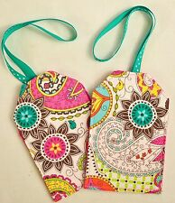 """hand crafted fabric luggage tags set of 2 secure info 3.5"""" X 5.5"""" teal & pink"""