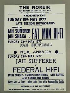 Reggae & Ska promo concert poster - Club Noreik Fatman Jah Shaka 1977 A3 reprint