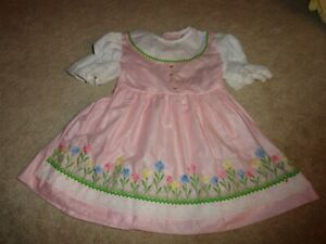 Vintage Pink & White Flower Embroidery Poly-Cotton Dress Size 4T (1960's)