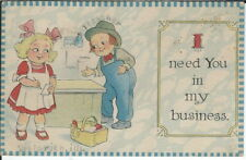 BA-453 I Need You In My Business, Boy Talking Girl 1915-1930 Early Modn Postcard