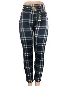 New Fashion Women Winter Warm Pull Up Plaids & Checks Fleece Lined Pants #960