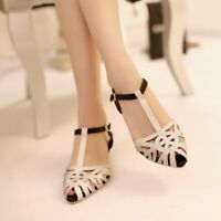 Women Roman Kitten Med Heel Slingback Buckle T-strap Sandals Hollow Out Shoes
