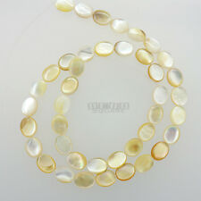 """16"""" White Yellow Mother of Pearl Shell Flat Oval Beads 8mm x 10mm Shiny #23061"""