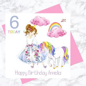 PERSONALISED BIRTHDAY CARD UNICORN RAINBOW THEMED DAUGHTER SISTER GRANDAUGHTER