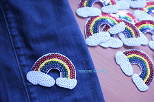1 Rainbow Sequins Clothing Iron-On Patch Applique, Approx 7.8 x 5.5 cm