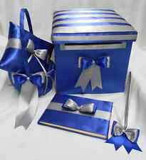 Royal Blue Silver Wedding Ring Pillow Flower Girl Basket Guest Book Pen Card Box