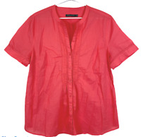 Sportscraft Womens Orange Short Sleeve Button Up Blouse Size 16