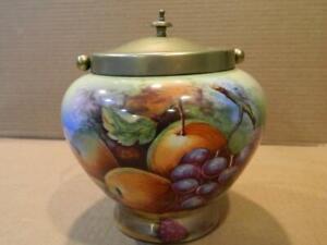 Bohemia Germany Porcelain Biscuit Barrel Cookie Jar Fruit Antique