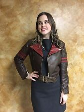 Jean Paul Gaultter For Target Women's Leather Motorcycle Jacket Built In Belt