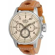 Invicta Men's Watch S1 Rally Beige Dial Light Brown Leather Strap 30914