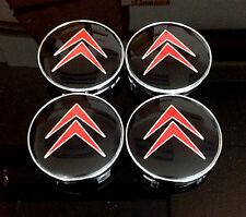 Citroen Wheel Center Caps 60mm Badge Set 4pcs Red/Black