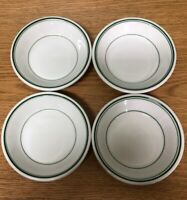Vintage McNicol China Dessert/Fruit Bowls White with Green Stripes (Set of 4)