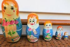 5 Piece Set of Wooden Nesting Doll.Russian Theme/Hand Painted