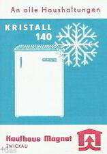 Kaufhaus Magnet Zwickau Prospekt Kühlschrank Kristall 140 DDR 1967