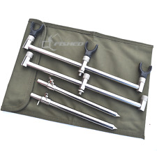 3 ROD BUZZ BAR CARP FISHING SET UP WITH STAINLESS STEEL BANK STICKS & GREEN BAG