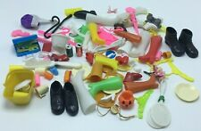 Vintage Barbie style doll accessories lot - shoes, coke can, cups etc.