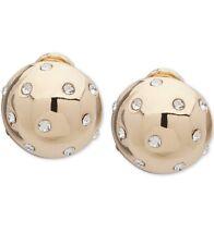 Ann Klein Gold Tone Pave Clip on Button Earrings Kkk1