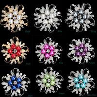 New Fashion Rhinestone Crystal  Wedding Bridal Bouquet Flower Pearl Brooch Pin
