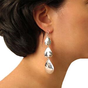 Long Triple Drop Earrings 925 Sterling Hammered Silver