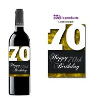 Gold Happy 70th Birthday Glossy Wine & Champagne Bottle Gift Present Label