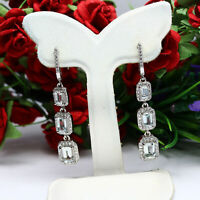 NATURAL 5 X 7 mm. COLORLESS AQUAMARINE & WHITE CZ EARRINGS 925 STERLING SILVER