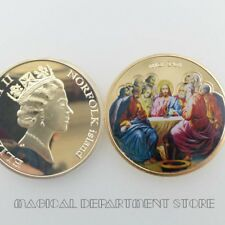 Gold Foil Round Coin Jesus Christ and The Last Supper Gold Plated Challenge Coin