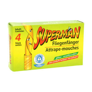 4er Pack Superman Fliegenfänger Fliegenfalle Insektenfalle Made in Germany